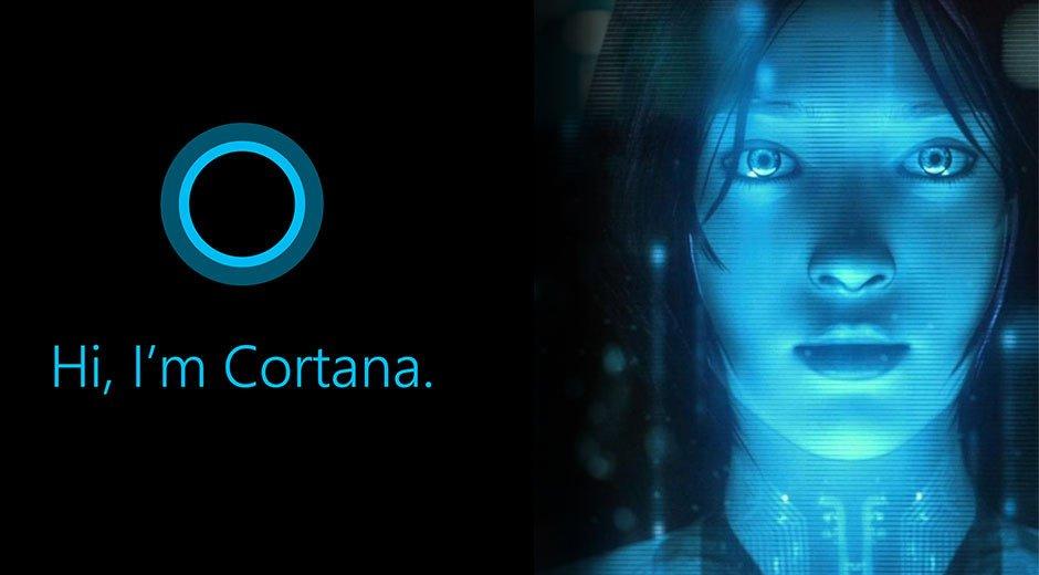 Imagen de Cortana, el nuevo asistente virtual de Windows Phone junto al rostro de Cortana, el personaje de Halo