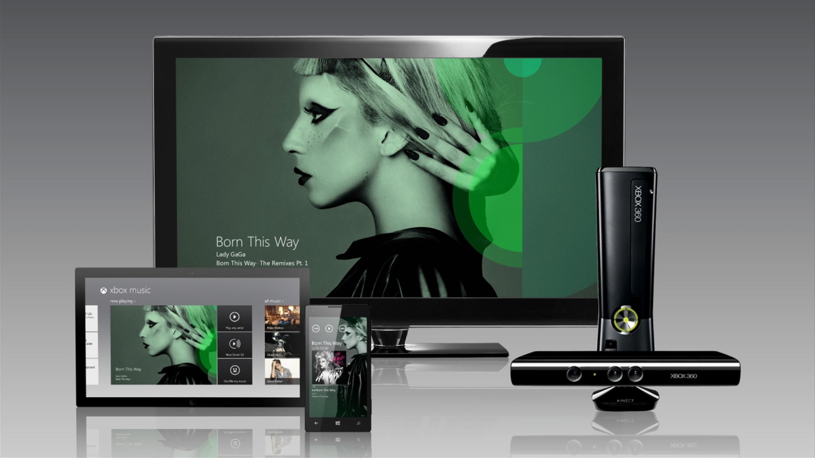 Imagen promocional de Xbox Music y su sincronización entre dispositivos