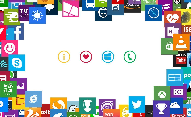 Imagen con varios logos de aplicaciones de windows phone