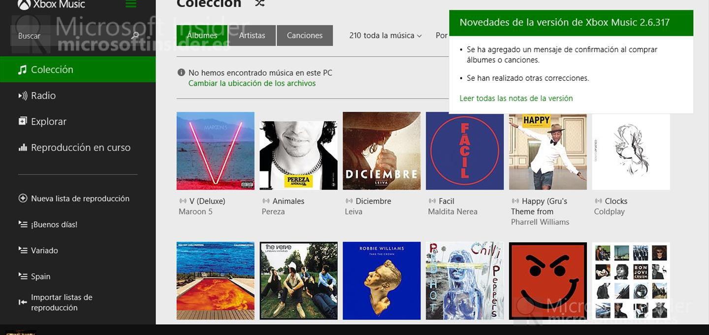 Actualización Xbox Music y Video