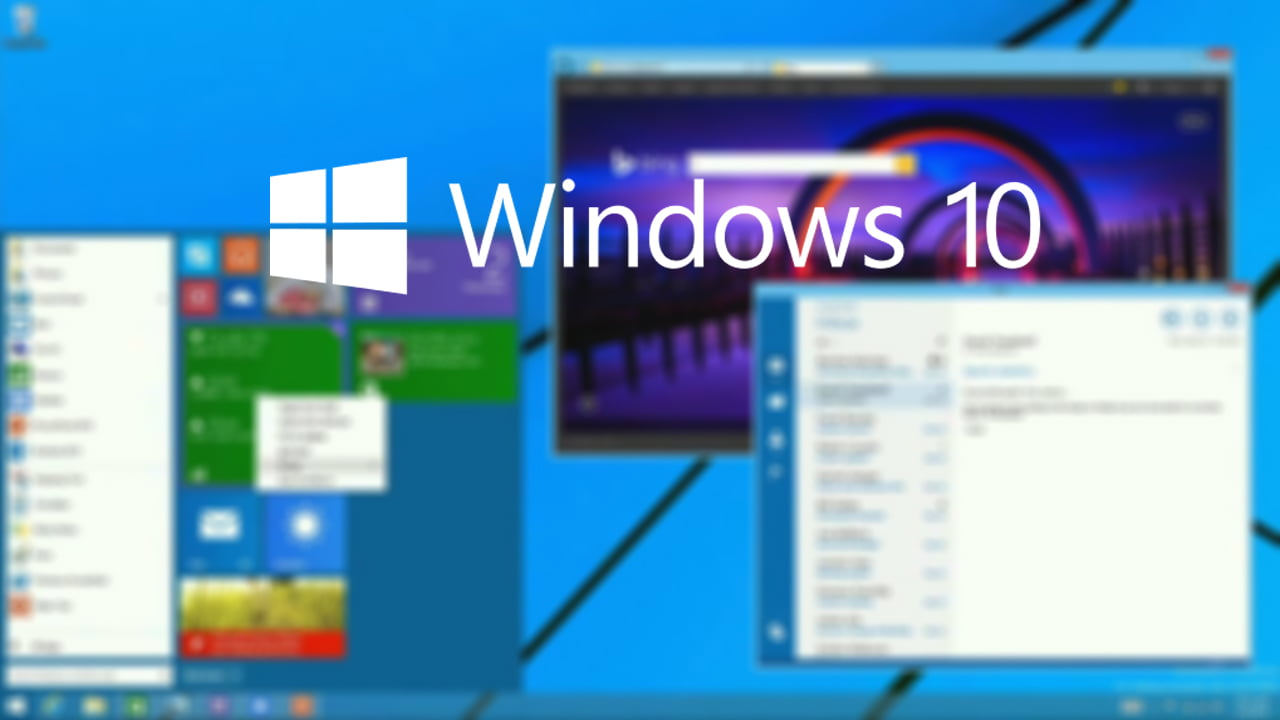 Fondo con logo de Windows 10