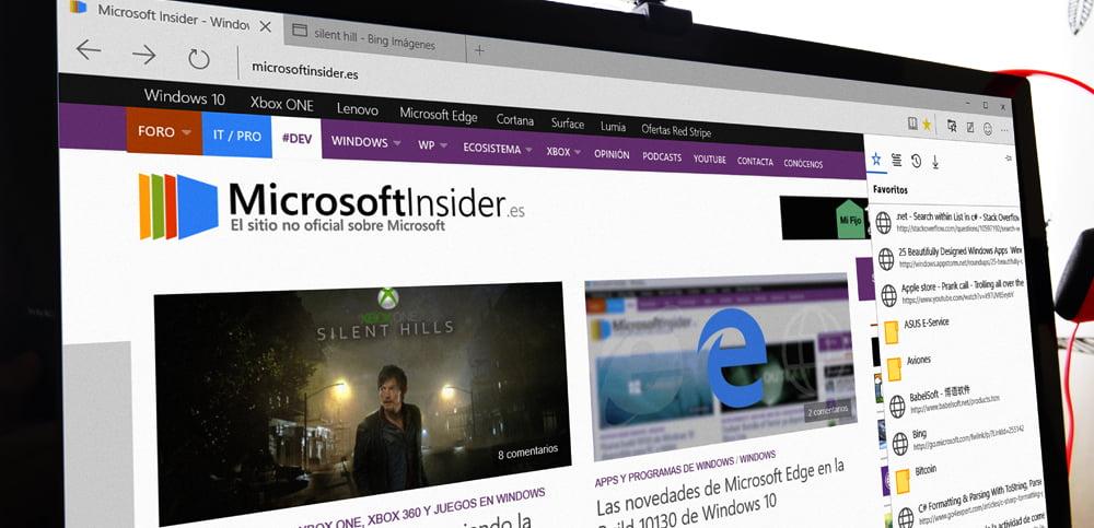 El nuevo diseño y logotipo de Microsoft Edge para la Build 10130 con Microsoft Insider de fondo