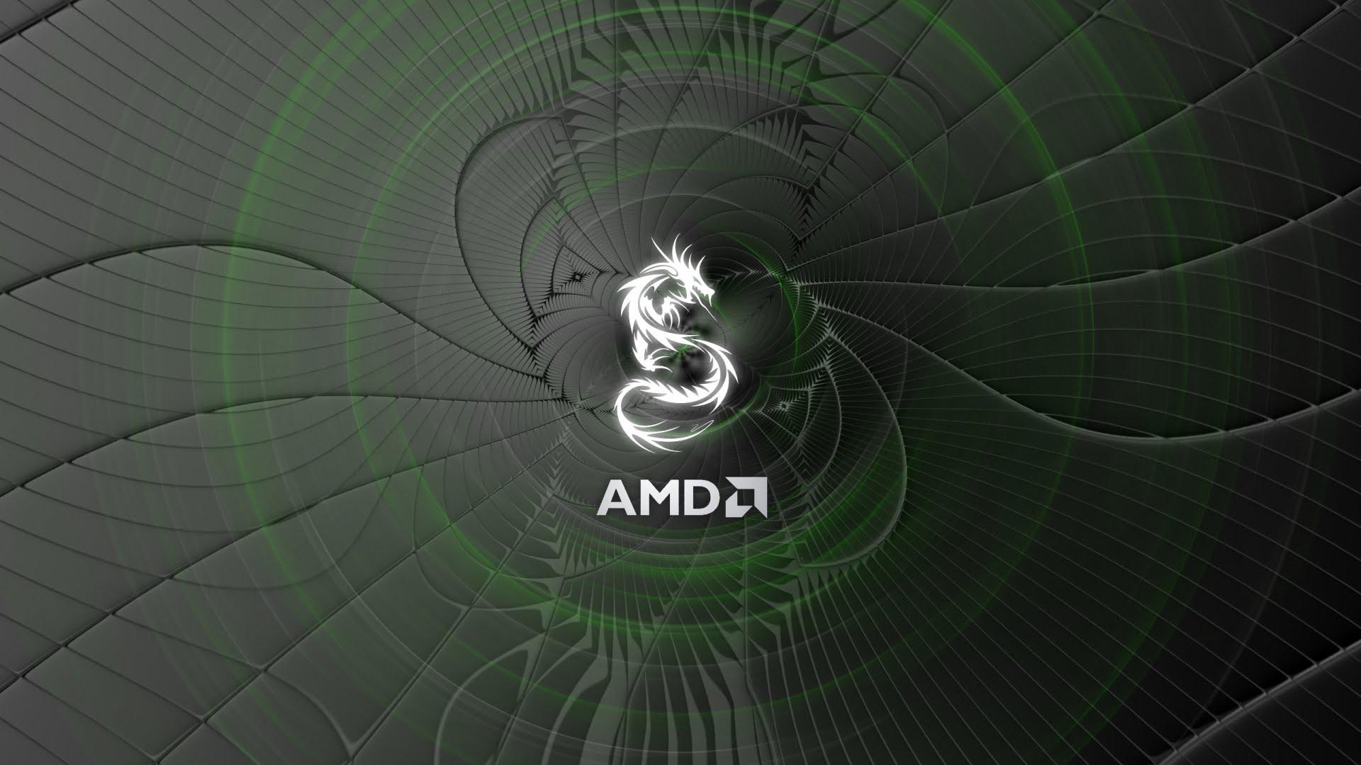 Wallpaper oscuro con el logotipo de la empresa AMD