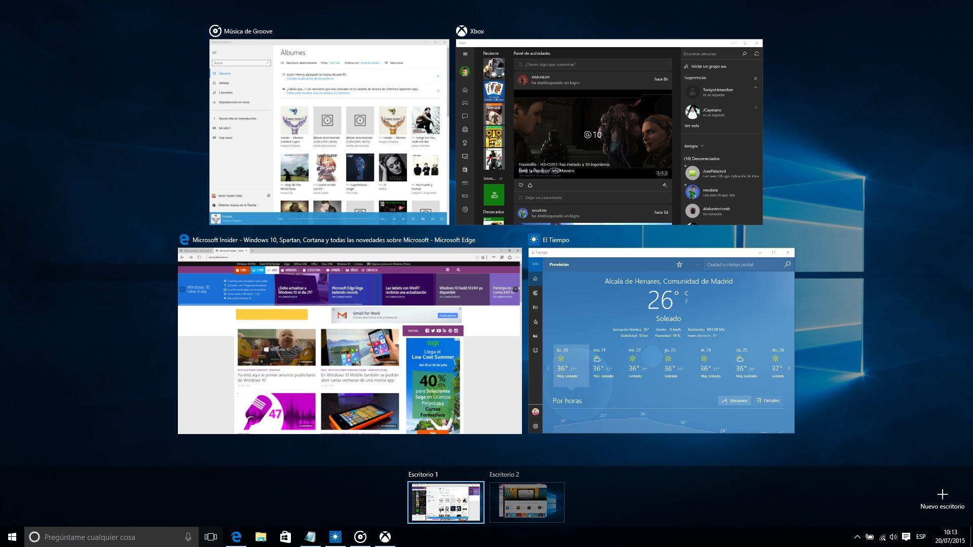 Vista de tareas mostrando Edge, Xbox, Música de Groove y El Tiempo, junto con otro escritorio virtual
