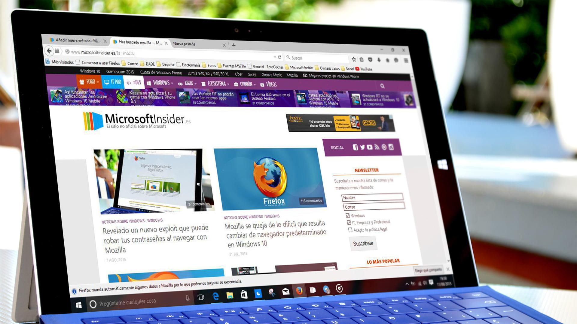Firefox 40 en una Surface Pro 3