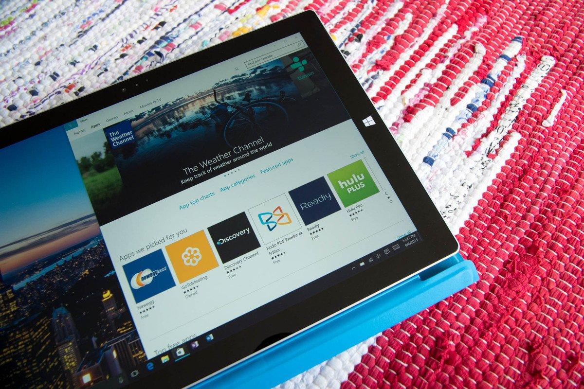 Tienda de aplicaciones de Windows 10 en una Surface Pro 3