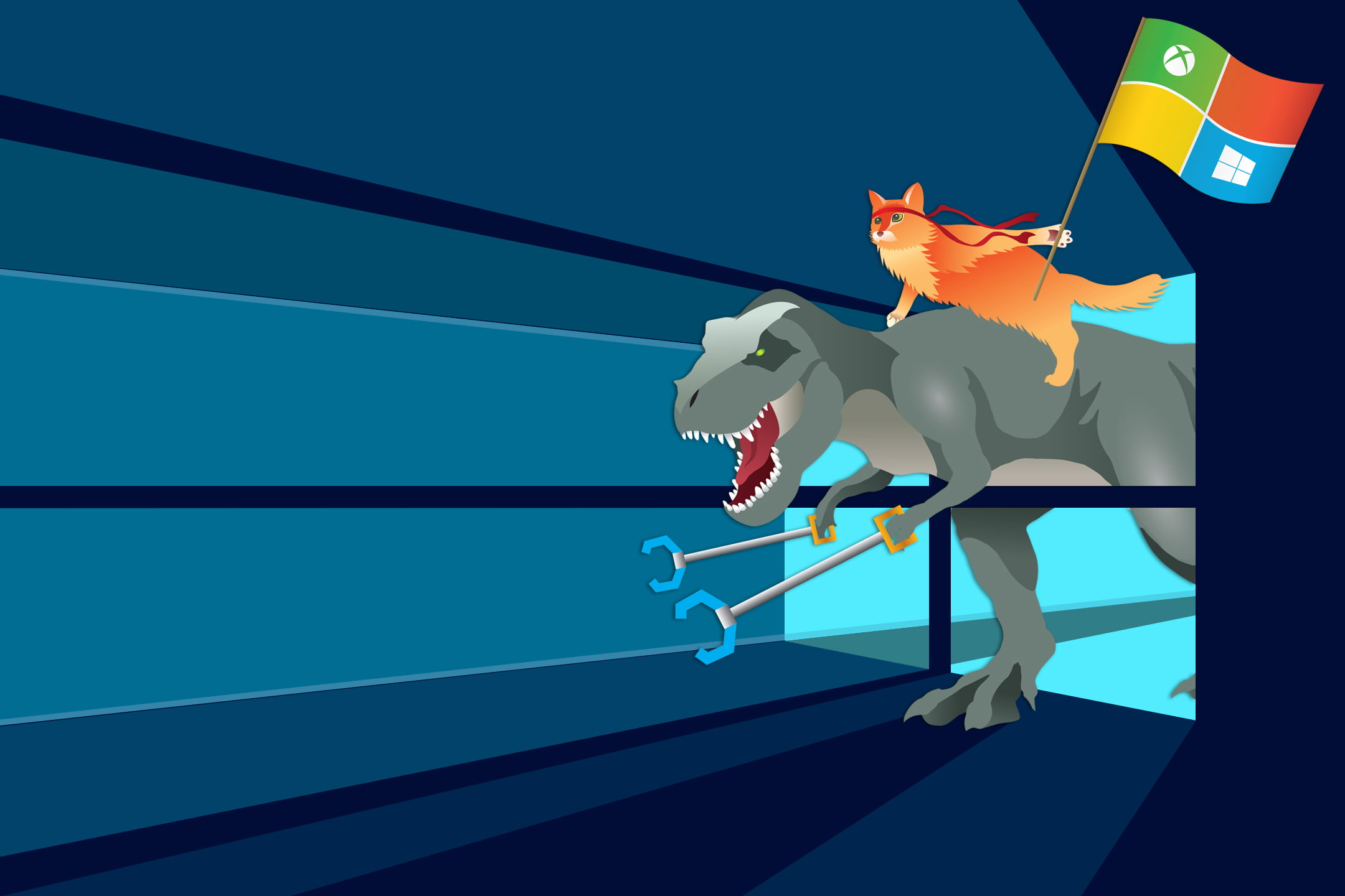 Fondo de Windows Insider con dragón y gato ninja
