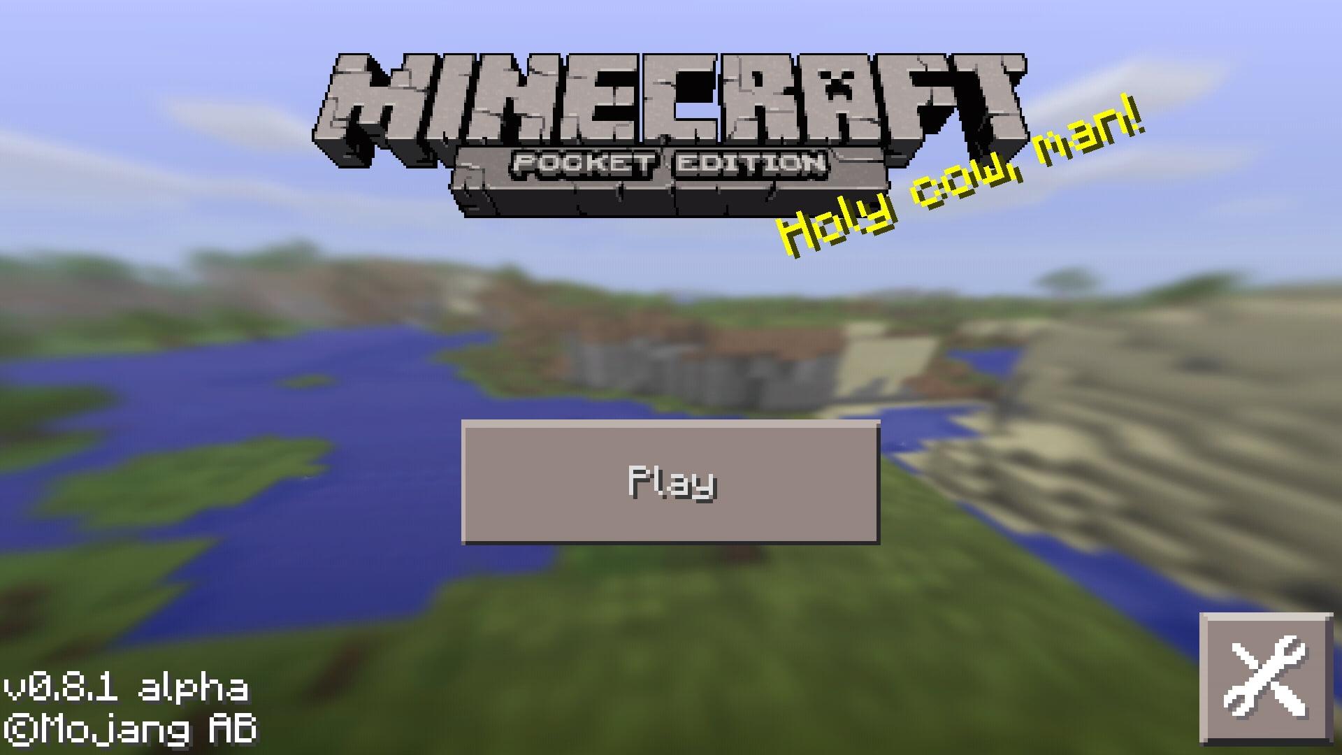Pantalla de inicio de Minecraft Pocket Edition
