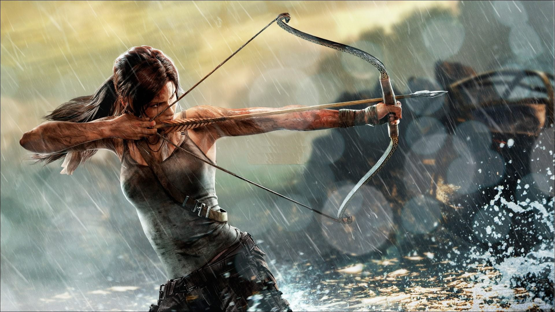 Lara Croft apuntando con un arco