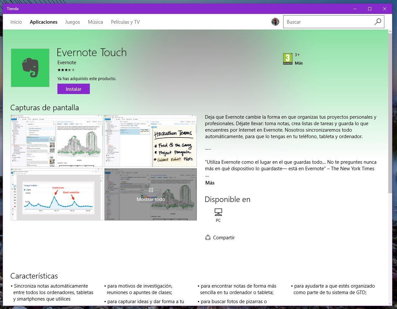 Aplicación de escritorio de Evernote en la tienda de Windows 10