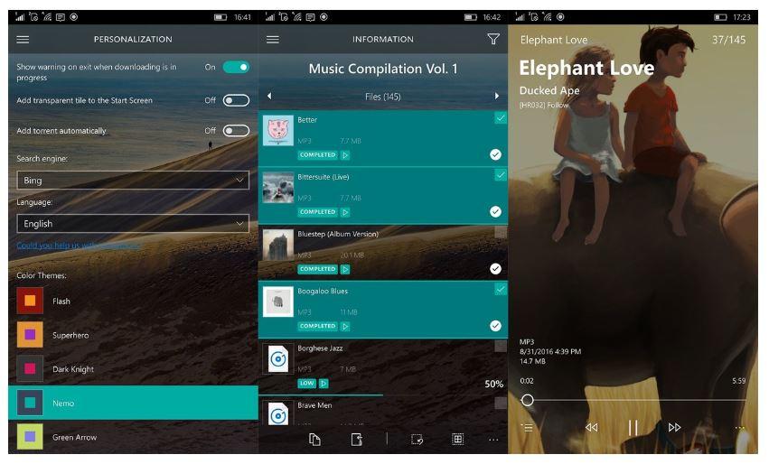 Torrex en Windows 10 Mobile