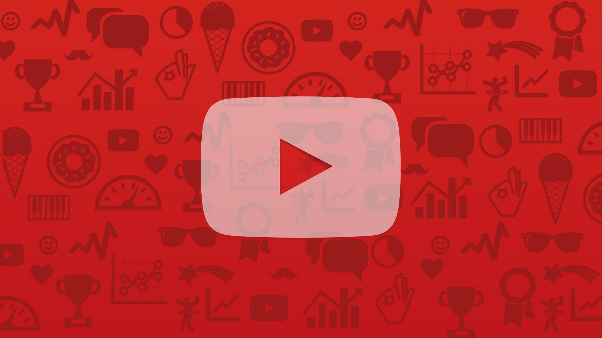 Logo de YouTube sobre fondo con sus categorías