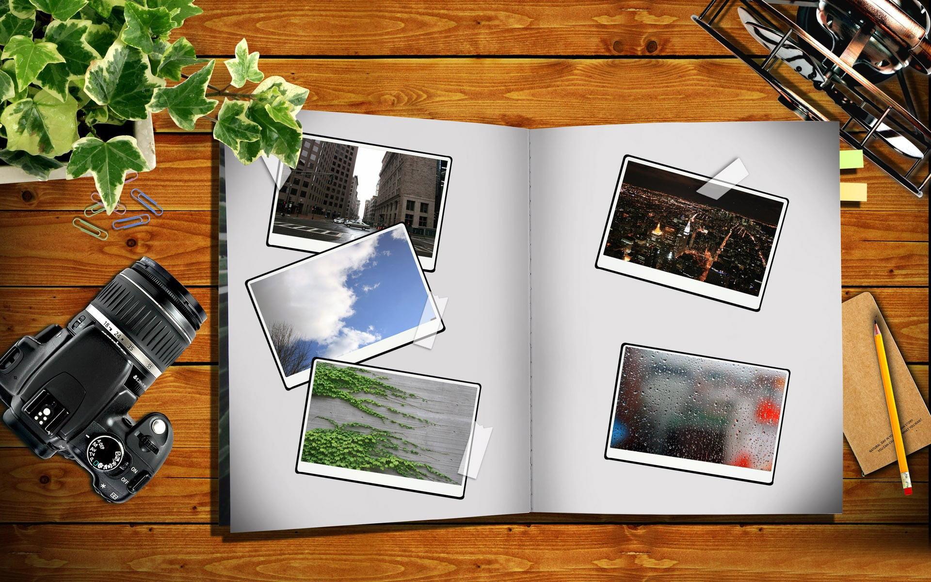 Álbum de fotos en escritorio