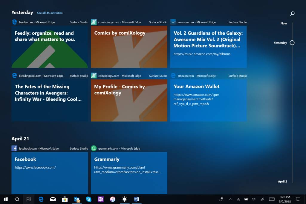 Efecto Acrylic en la vista de tareas de Windows 10 Build 17661