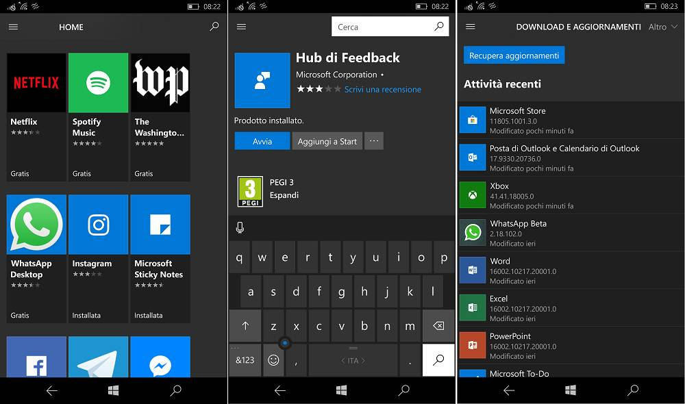 Windows 10 Mobile Microsoft Store