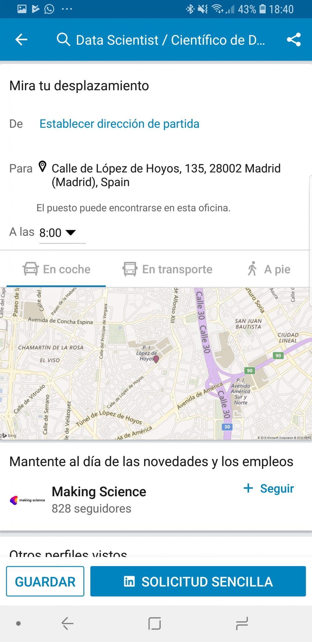 LinkedIn ya nos deja calcular la distancia de casa a un posible trabajo