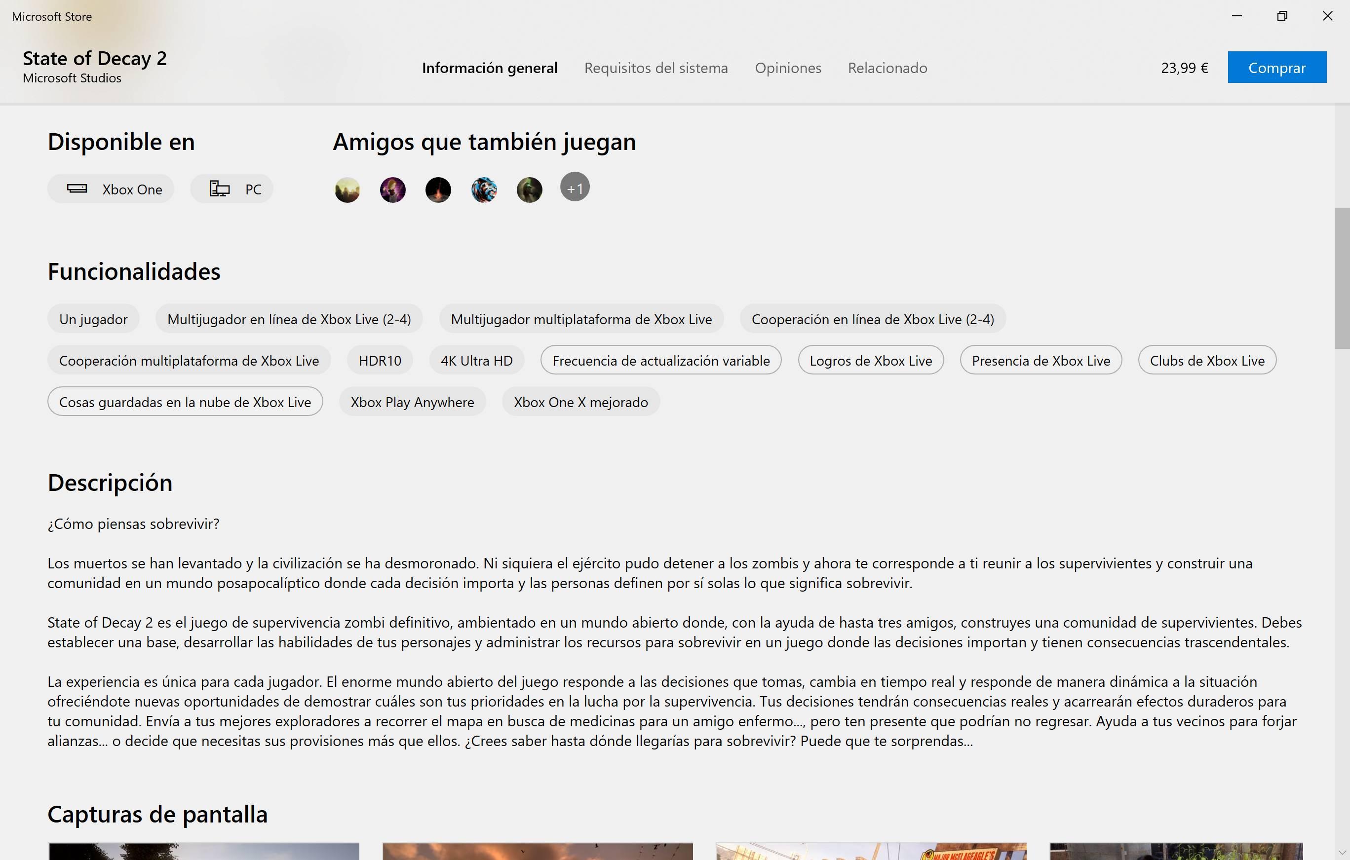 Microsoft Store detalles de un juego