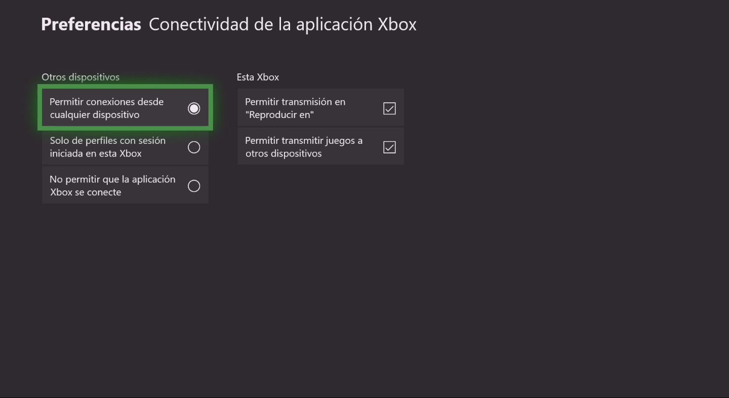 Xbox One retransmisión ajustes