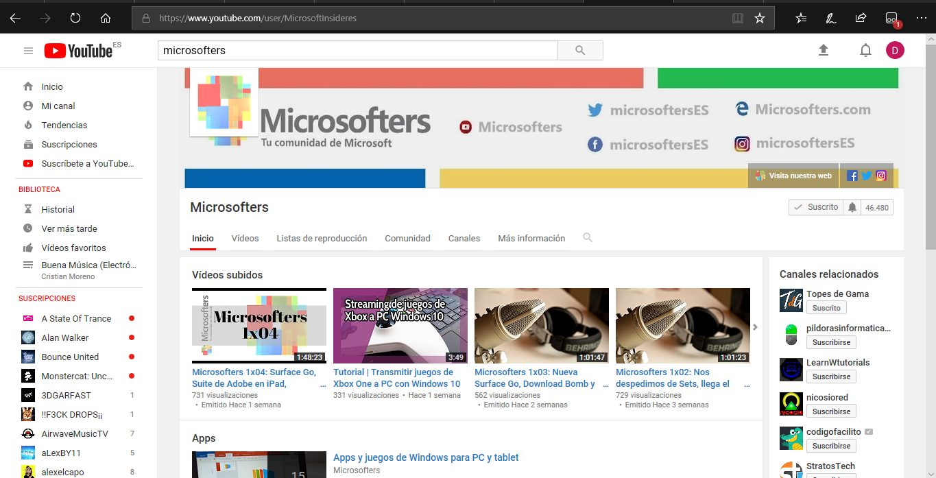 Diseño anterior Youtube