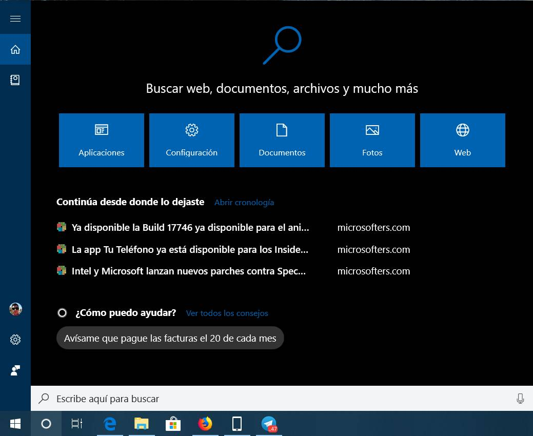 Interfaz en Windows 10 RS5