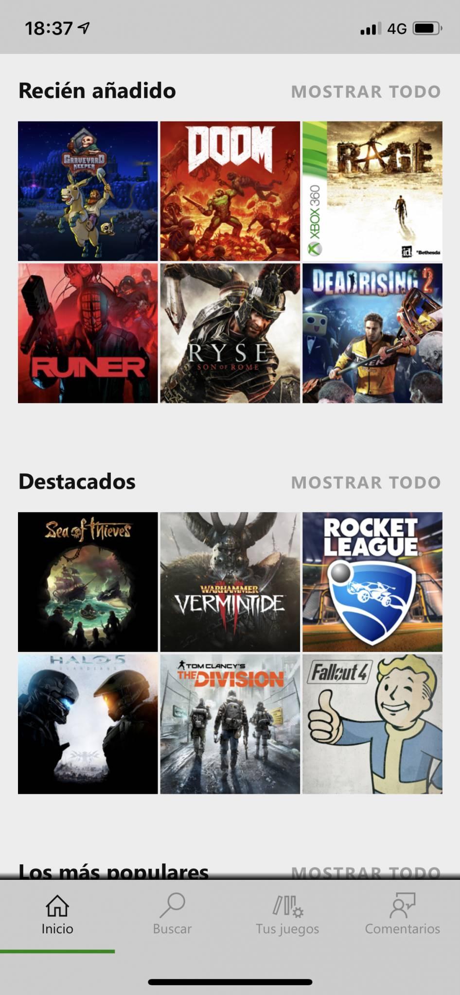 Lista de colecciones de Xbox Game Pass para iOS