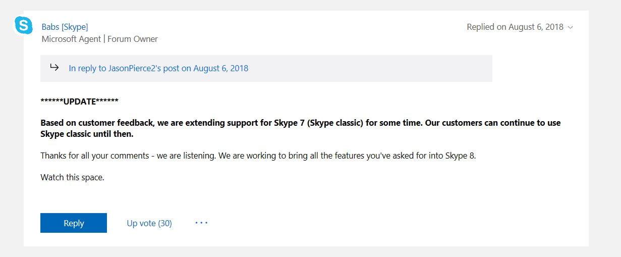 Podremos usar Skype 7 después del 1 de septiembre