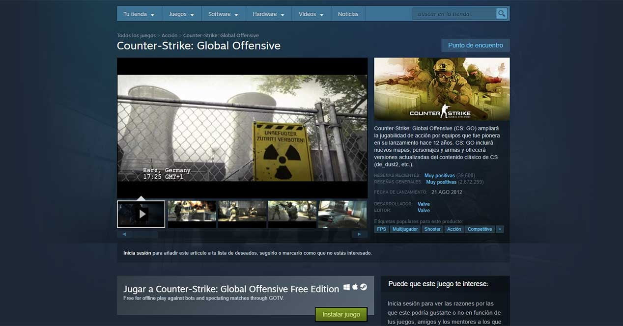 Counter Strike gratis en Steam