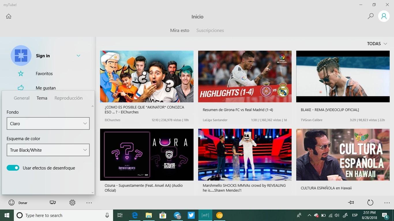 MyTube con el tema claro auténtico