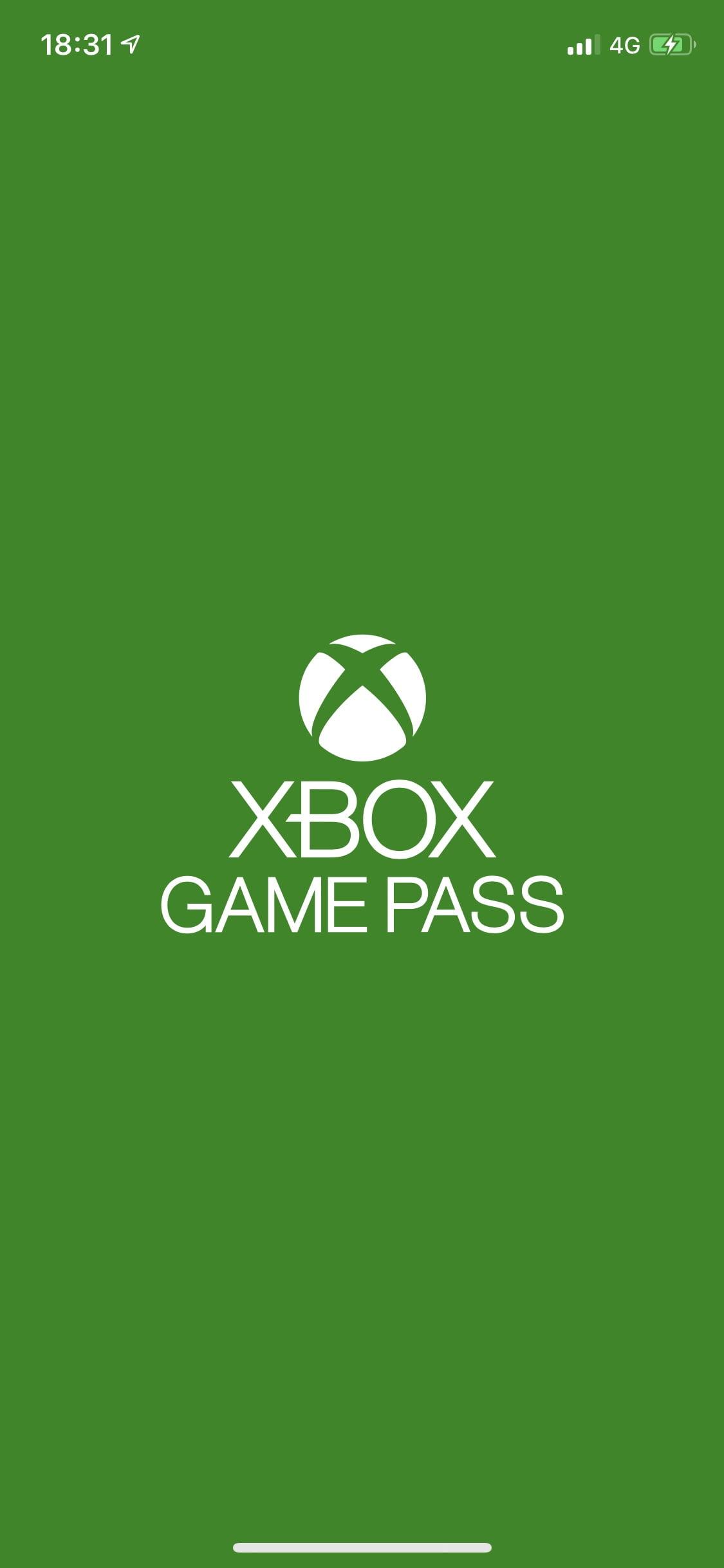 Pantalla inicial de la aplicación de Xbox Game Pass para iOS