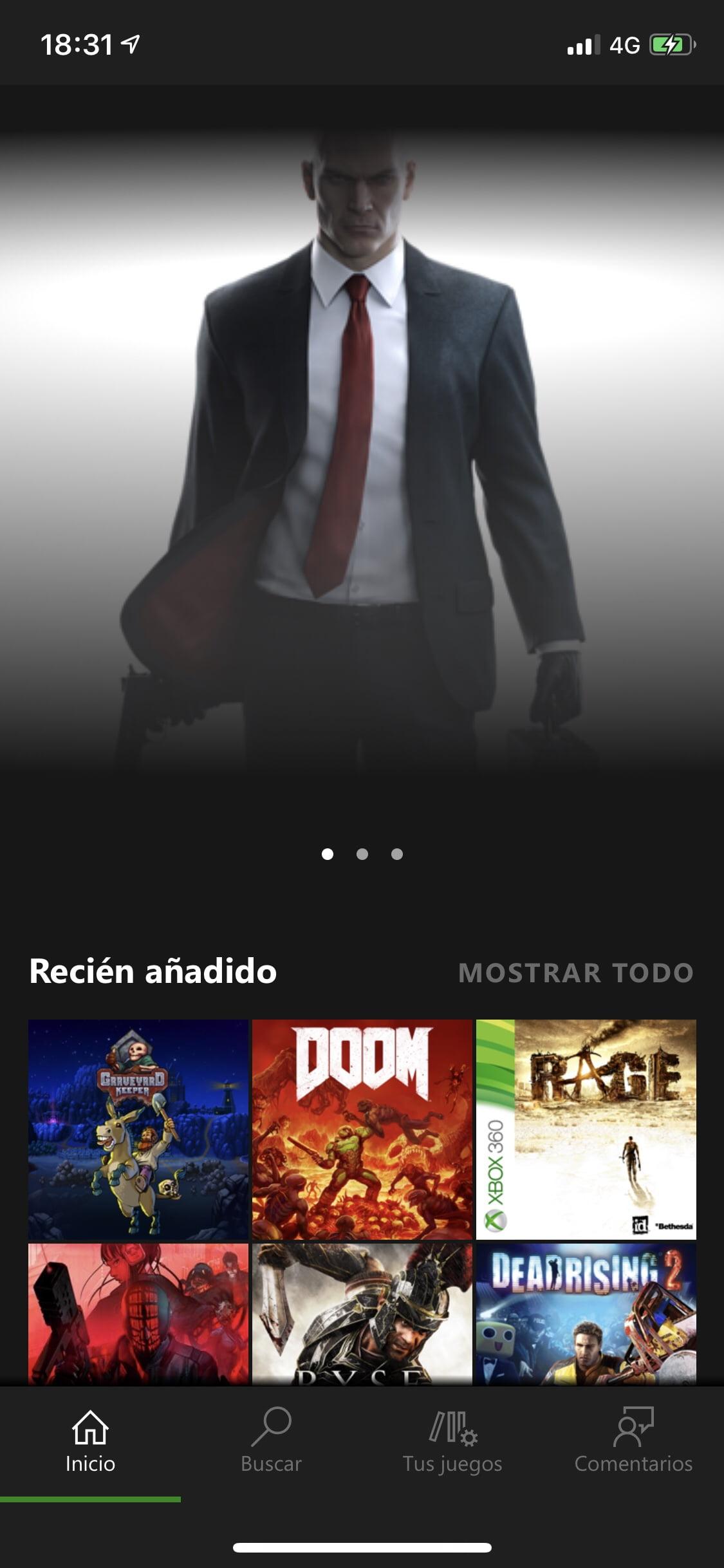 Pantalla inicial de Xbox Game Pass para iOS