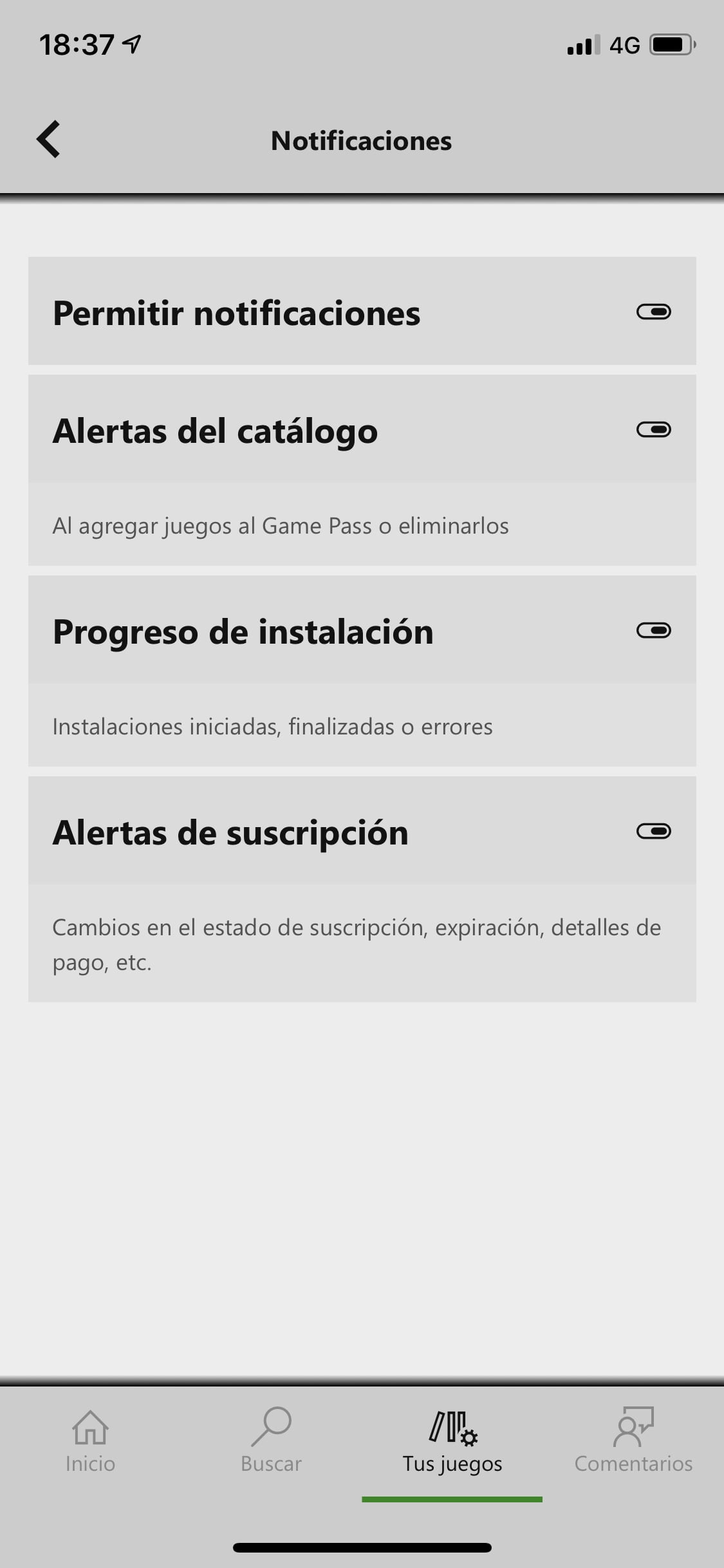 Menú de notificaciones de Xbox Game Pass para iOS