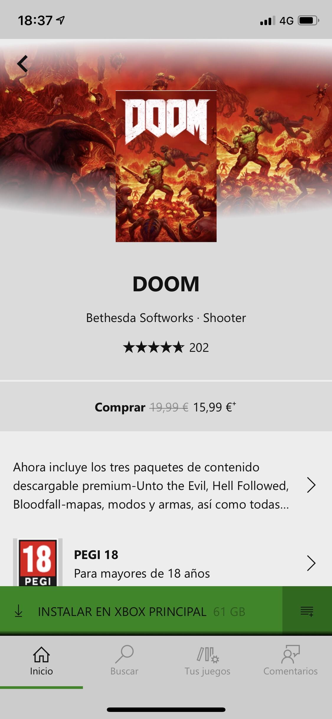 Opción de instalar en mi Xbox Game Pass para iOS