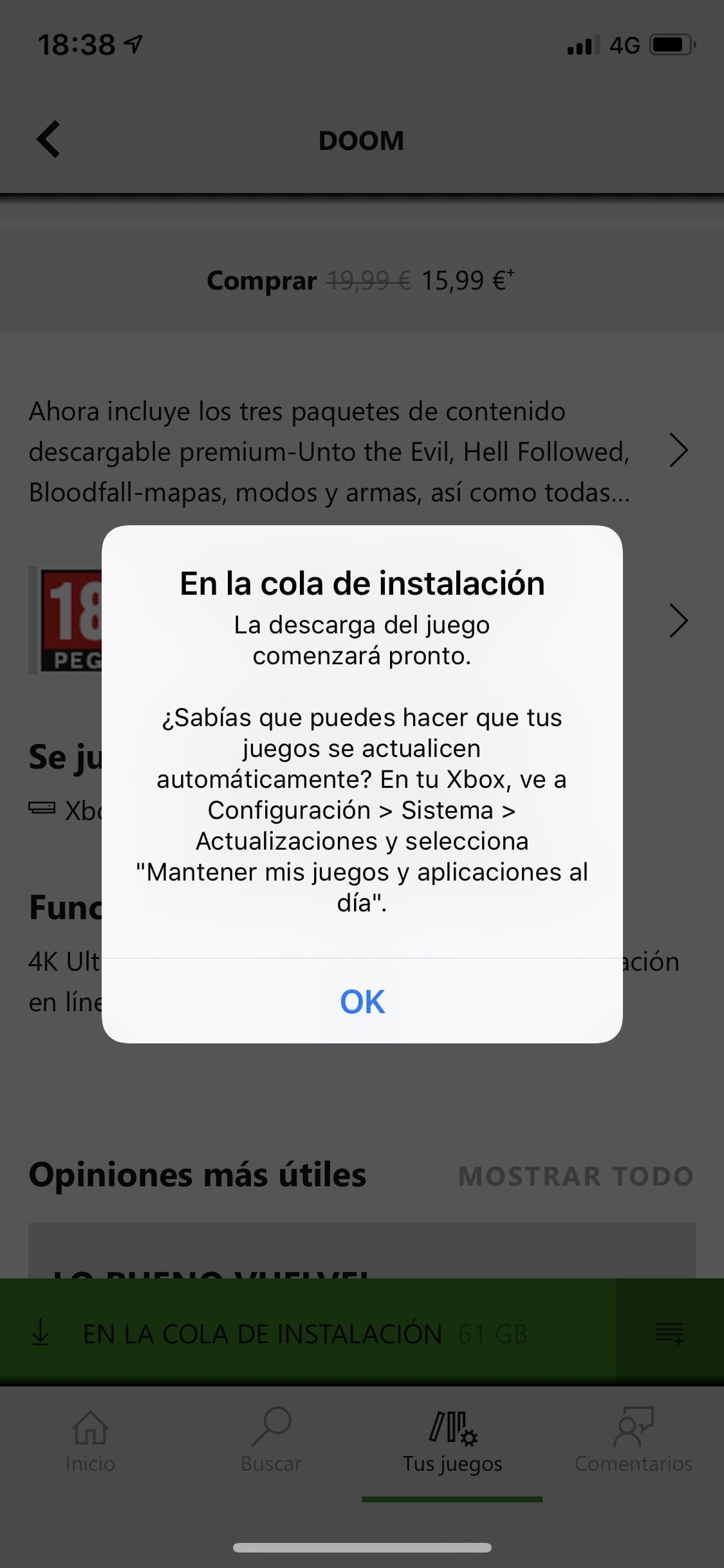 Mensaje tras darle a instalar en mi Xbox Game Pass para iOS