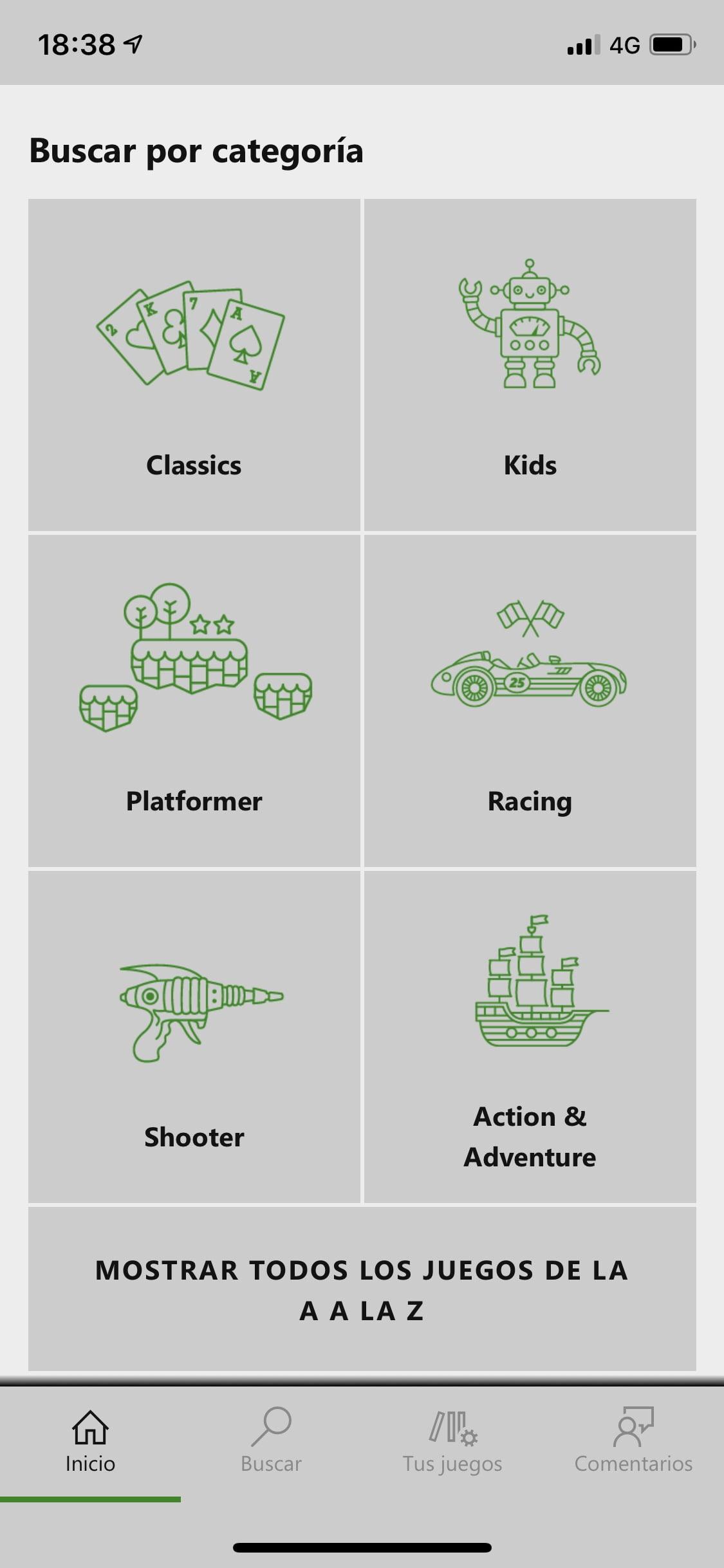 Categorías por sección y todos los juegos del catálogo