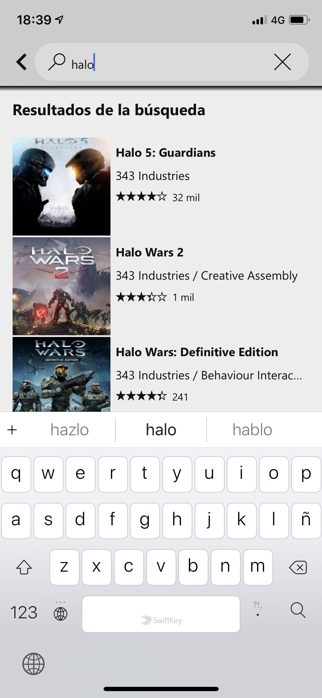 Resultados de la búsqueda en Xbox Game Pass para iOS