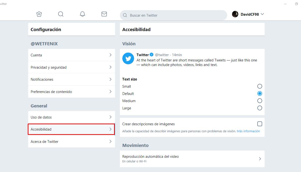 Accesibilidad Twitter PWA