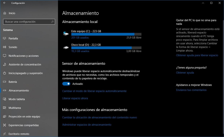 El Sensor de Almacenamiento mejora con Windows 10 October Update
