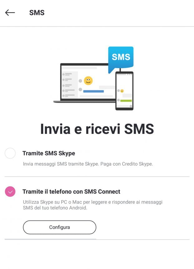 Skype Preview con SMS Connect