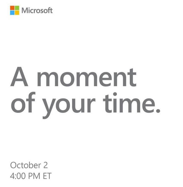 Microsoft convoca a la prensa el 2 de octubre para un evento de Surface