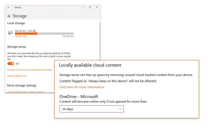 Integración del sensor de almacenamiento de Windows con los archivos bajo demanda de OneDrive