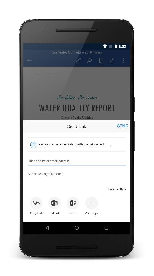 Opción de compartir con equipos desde OneDrive