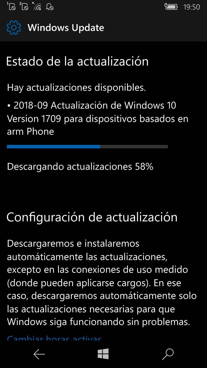 Windows 10 Mobile septiembre 2018