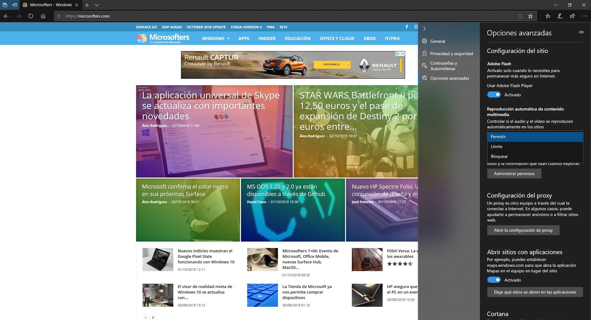 Microsoft Edge puede bloquear de forma automática el contenido multimedia