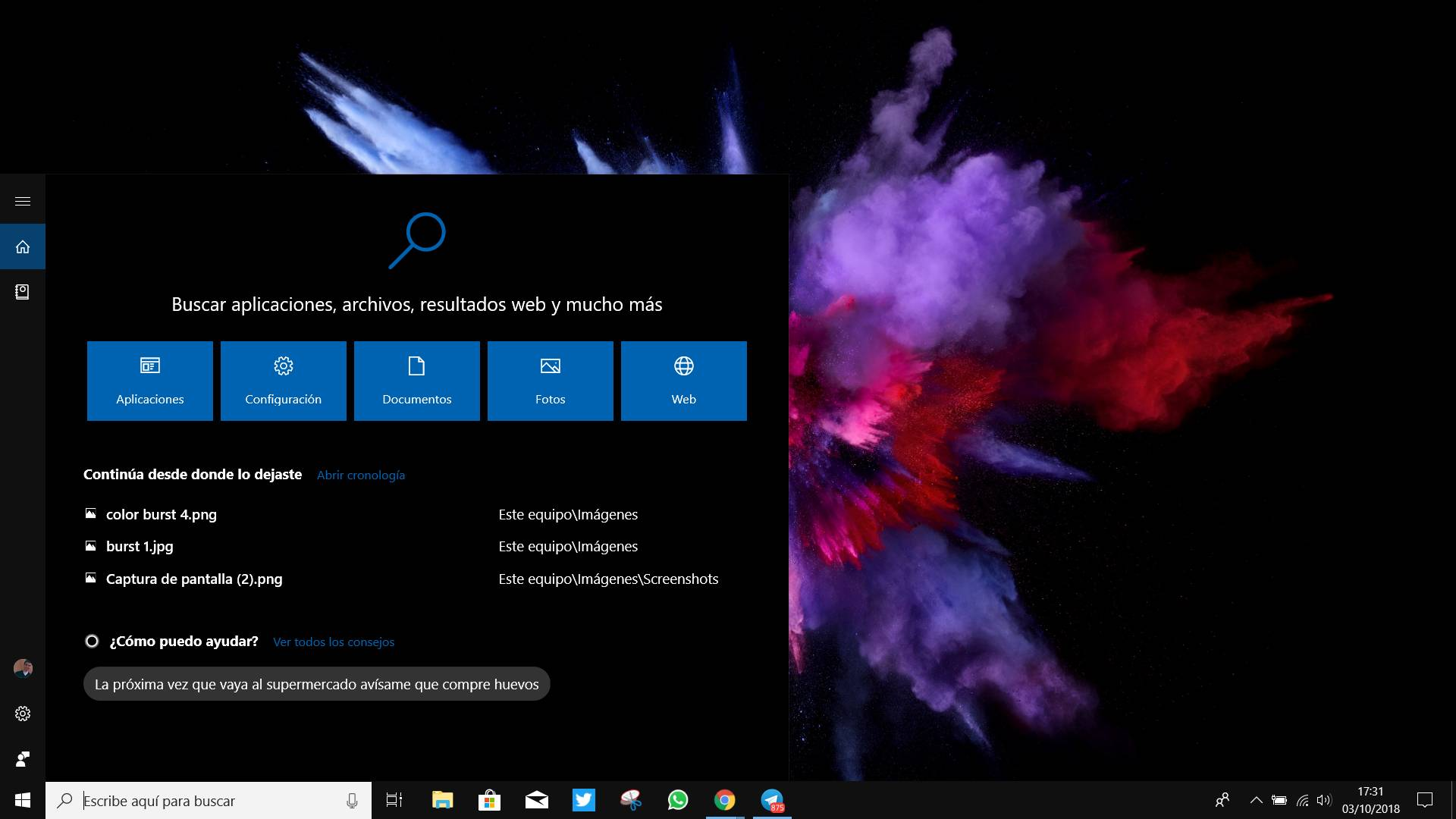 Cortana en Windows 10 October 2018 Update