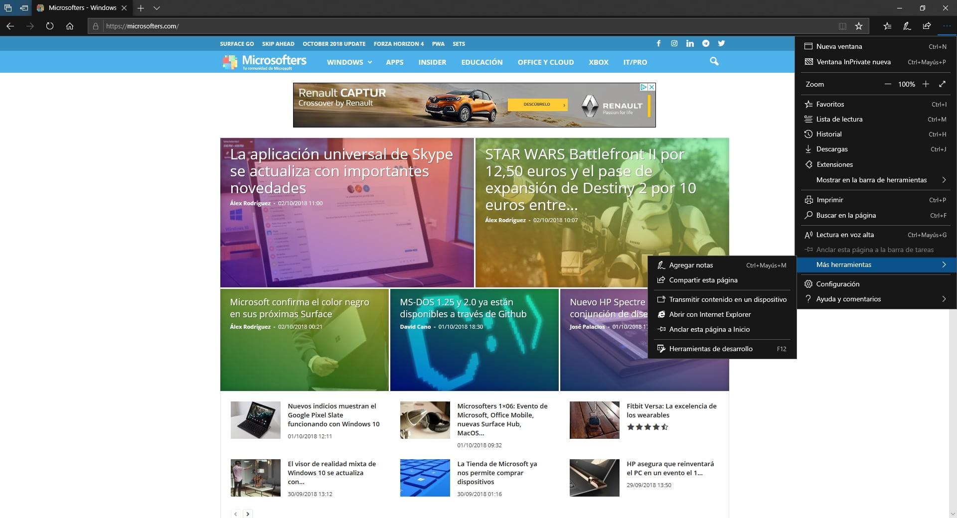 Más herramienta de Microsoft Edge