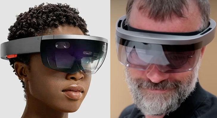Imagen comparativa de las primeras HoloLens y la segunda generación