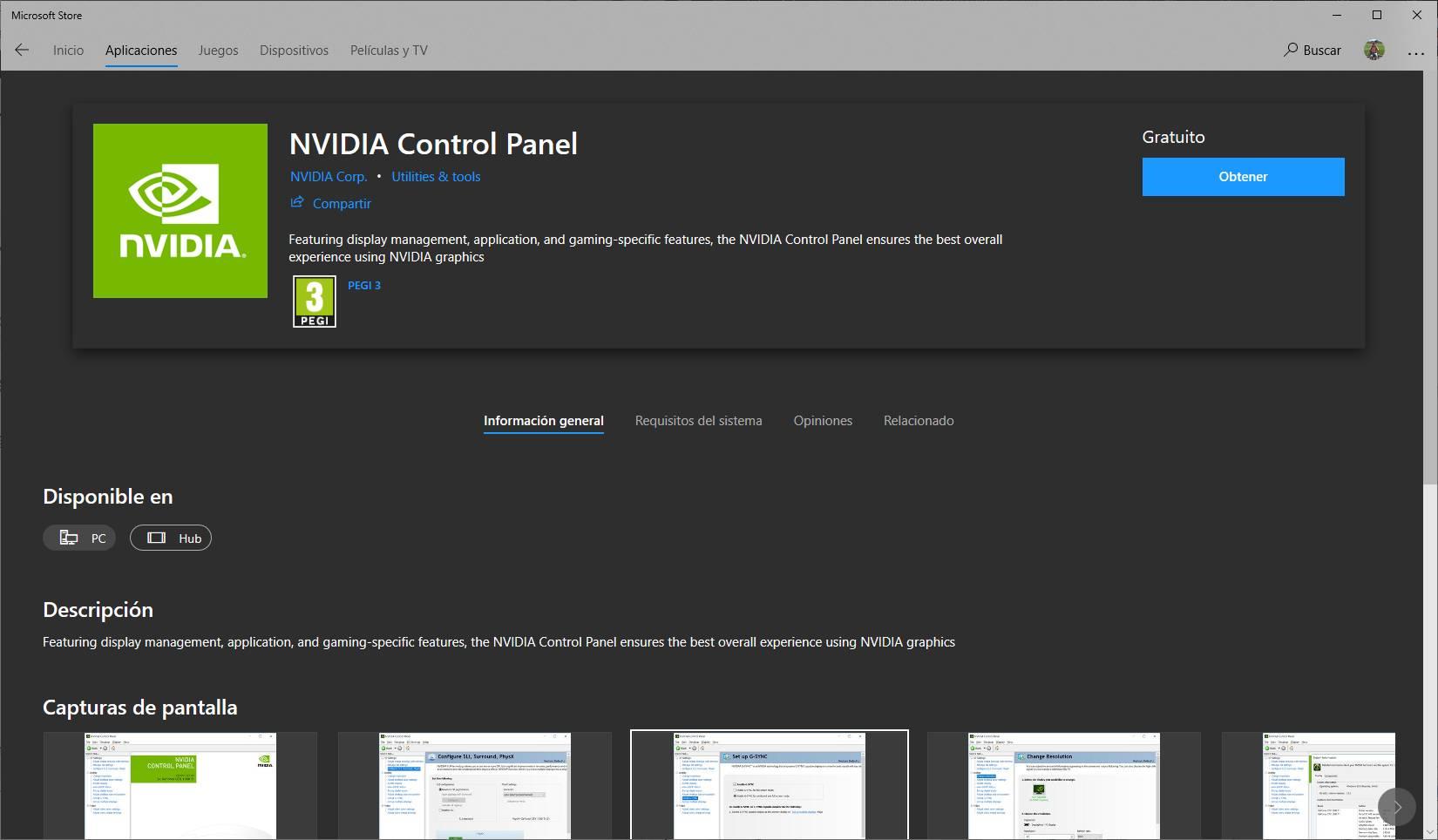 El Panel de control de NVIDIA llega a la Tienda de Microsoft