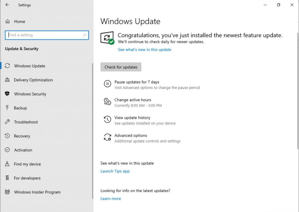 Build 18282 Windows Update