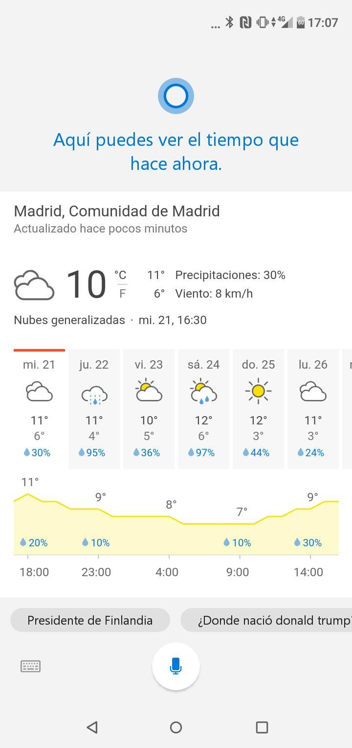 Cortana en Español para Android en Microsoft Launcher 5.1
