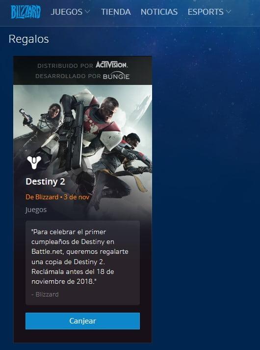 Destiny 2 en la web de Blizzard gratis